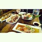 Takoyaki, Okonomiyaki, Sashimi, Salmon