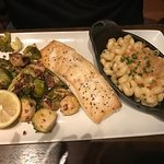 Halibut with Lobster Mac & Cheese and Roasted Brussel Sprouts