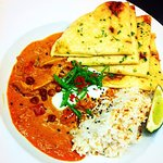 Coconut Lime Chicken Curry Special. Cardamon infused rice, dry roasted chick peas, toasted cocon