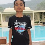 My son near the swimming pool