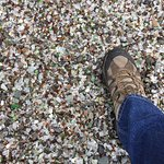 Standing on treasure ... it really is a beach made of sea glass