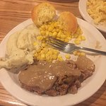 meat loaf mash sweetcorn and biscuit with the GRAVY!