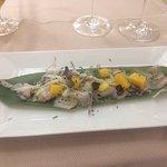 Tiradito de Corvina con mango, brotes y daikon.