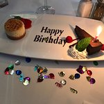 Nice touch on the Birthday dessert, both delicious!!!