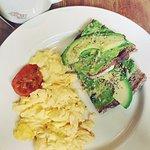 1/2 avocado on toast & organic scrambled egg
