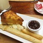 Deep fried breaded brie (starter)