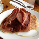 Pancakes bacon and maple syrup for breakfast 😍