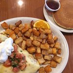 Mexican Omelet w/ potatoes & short stack of buttermilk pancakes!