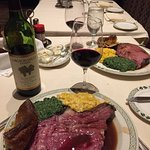 Diamond Jim Brady cut prime rib with creamed corn and spinach