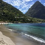 The Pitons from the beach