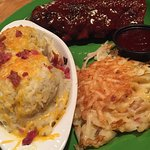 1/2 rack of ribs, mashed potatoes and cheesy hashbrowns