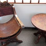Classic embossed leather furniture. Probably antique.