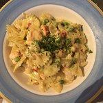 The dish I had was Farfalle do spiaggia, it has lobster, shrimp, peas, avocado and a cream sauce