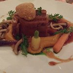 Lamb belly with carrot puree
