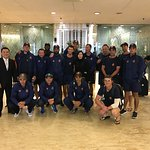 Team photo in the Hotel Lobby