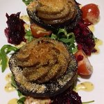 Wild field mushrooms with blue cheese starter