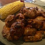 A dozen wings and corn.