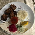 Pork shashlik with side of rice.  Delicious.