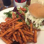 Ostrich Burger and sweet potato fries