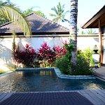Inside villa by the pool.
