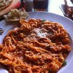 Tagliatelle Salmone - Pasta with smoked salmon, prawns in a cream and tomato sauce