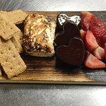 S'mores/ dark chocolate truffle, jasmine flower marshmallow, graham cracker, seasonal fruit