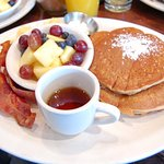 Sweet potato pancakes, fruit, eggs, and bacon w/Vermont maple syrup!