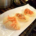 Spicy Crabmeat Chip Sashimi, Caesar Salmon Chip Sashimi, Spicy Salmon Chip Sashimi