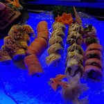 Left to right:Mango Madness roll, Philadelphia roll,  Dirty Old Man, Special Spicy Tuna, Ocean D