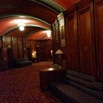 Walnut lined lobby.