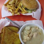 The burger and fries and soup and grilled cheese