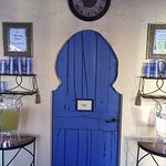 The cold drink area featuring one of the Moroccan doors