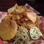 Chopped Pork Barbecue Sandwich w/ mayo slaw & chips
