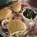 BBQ Slider Trio w/ vinegar slaw & collards