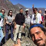 Volcano trekkers with guide