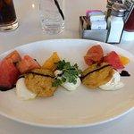 Fried green tomato caprese salad