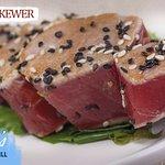 fresh seared tuna skewer