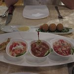 Trio of ceviches, and croquettes