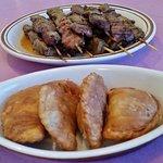Pork sticks and chicken empanadas/w curry