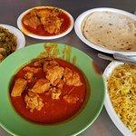 Chicken masala, biryani, saag aloo, chapati