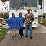 RV site #3 at Dellanera RV Park. Enjoying spring break on Galveston Island Beach with grand-kids
