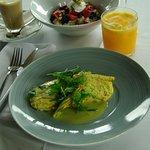 Summer 17 Breakfast Omelette [v]zucchini & smoked mozzarella omelette, zucchini f lowers, lemon