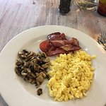 Another breakfast: Streaky bacon, mushrooms, and scrambled eggs.