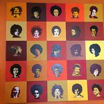 Art on the dining room wall. Can you identify these celebrities with African hairstyles?