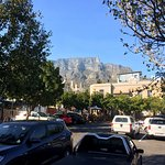 Standing in front of the lodge, looking over at Roxy's Late Night and Table Mountain.