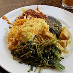 Beef rendang, fish and tofu, spinach, curry over rice