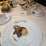 The chocolate dessert with birthday greeting