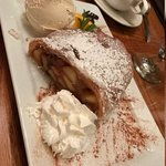 The apple strudel is enough for three people!