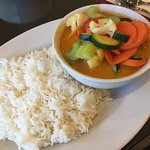 """""""Malaysian curry with veggies"""" and """"Laksa noodle soup with tofu & veggies"""". My curry was exactly"""