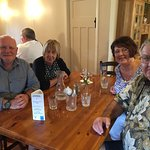 """The """"crew"""" having had enjoyed the delicious meal"""